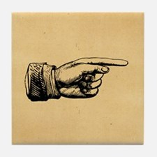 Old Fashioned Pointing Finger Tile Coaster