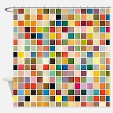 random-color-blocks.png Shower Curtain