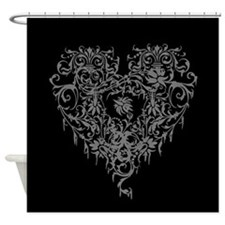 Ornate Grey Gothic Heart Shower Curtain