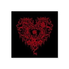 "Ornate Red Gothic Heart Square Sticker 3"" x 3"""