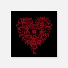 "Ornate Red Gothic Heart Square Sticker 3"" x 3"""
