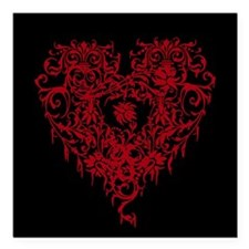 """Ornate Red Gothic Heart Square Car Magnet 3"""" x 3"""""""