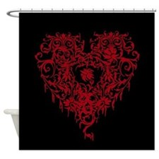 Ornate Red Gothic Heart Shower Curtain