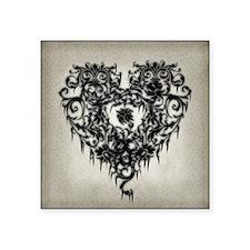 "Ornate Gothic Heart Square Sticker 3"" x 3"""