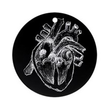 Human Heart Drawing Ornament (Round)