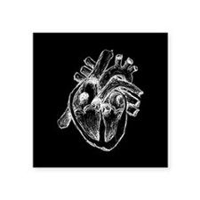 "Human Heart Drawing Square Sticker 3"" x 3"""