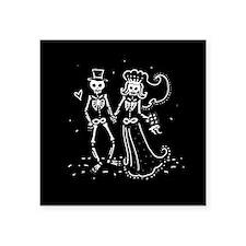 "Skeleton Bride And Groom Square Sticker 3"" x 3"""