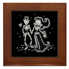Skeleton Bride And Groom Framed Tile