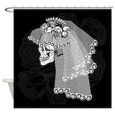 Skull Bride Shower Curtain