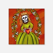 "Muerta Skeleton Lady Square Sticker 3"" x 3"""