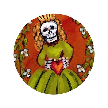 "Muerta Skeleton Lady 3.5"" Button"