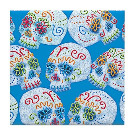 Mexican Sugar Skulls Tile Coaster
