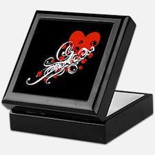 Heart With Skulls And Swirls Keepsake Box