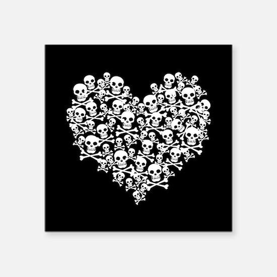"Skull Heart Square Sticker 3"" x 3"""