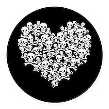 Skull Heart Round Car Magnet