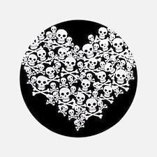 "Skull Heart 3.5"" Button"