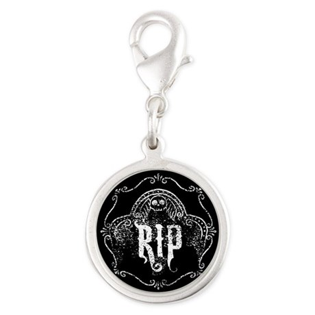 Halloween Tombstone RIP Silver Round Charm