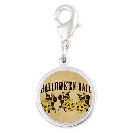 Vintage Halloween Ball Silver Round Charm