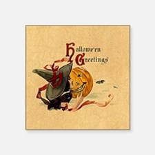 """Vintage Witch Girl Square Sticker 3"""" x 3"""""""