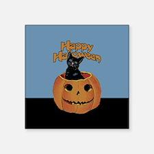 """Vintage Halloween Cat In Pumpkin Square Sticker 3"""""""