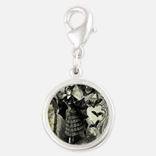 Victorian Halloween Bat Collage Silver Round Charm