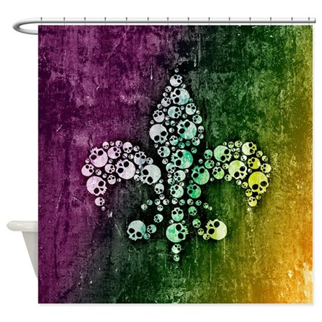 Colorful skull fleur de lis shower curtain by unfortunateoccasions - Fleur de lis shower curtains ...