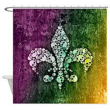 Colorful Skull Fleur De Lis Shower Curtain