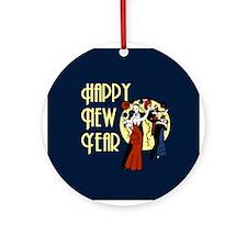 Retro Happy New Year Ornament (Round)