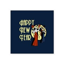 "Retro Happy New Year Square Sticker 3"" x 3"""