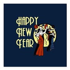 "Retro Happy New Year Square Car Magnet 3"" x 3"""