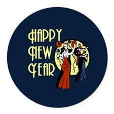Retro Happy New Year Round Car Magnet