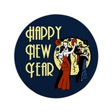"Retro Happy New Year 3.5"" Button"