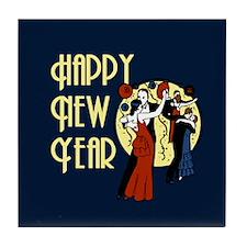 Retro Happy New Year Tile Coaster