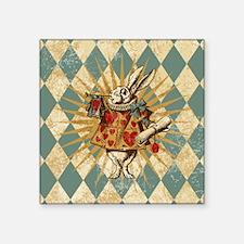 "Alice White Rabbit Vintage Square Sticker 3"" x 3"""