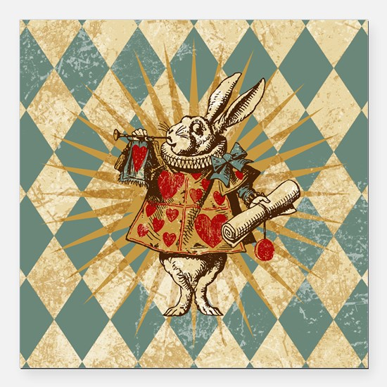 "Alice White Rabbit Vintage Square Car Magnet 3"" x"