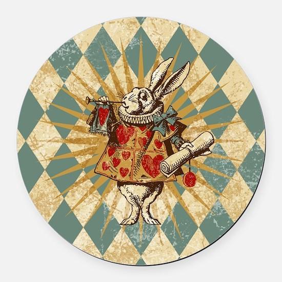 Alice White Rabbit Vintage Round Car Magnet