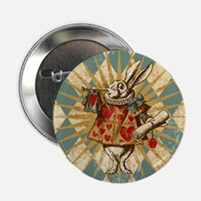 "Alice White Rabbit Vintage 2.25"" Button"