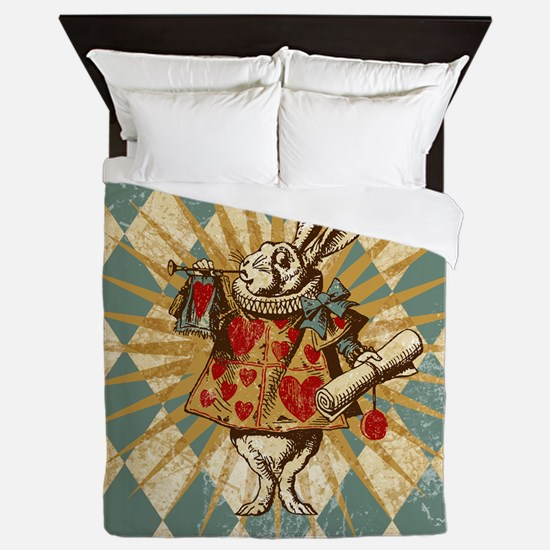Alice White Rabbit Vintage Queen Duvet