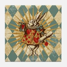 Alice White Rabbit Vintage Tile Coaster