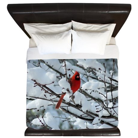 Snow Cardinal King Duvet