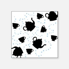 "Tumbling Tea Party Square Sticker 3"" x 3"""