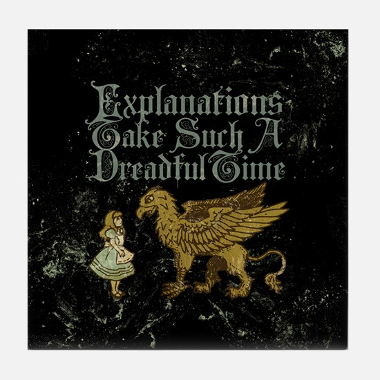 Alice Gryphon Explanations Tile Coaster