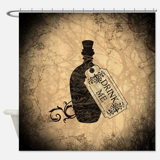 Drink Me Bottle Worn Shower Curtain