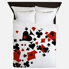 Scattered Card Suits Queen Duvet