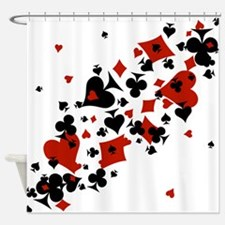Scattered Card Suits Shower Curtain