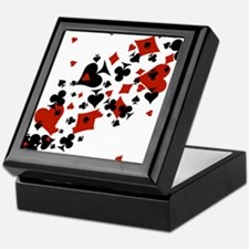 Scattered Card Suits Keepsake Box