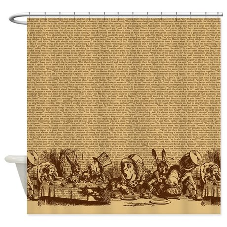 Vintage Alice Border Brown Shower Curtain By Maliceblue