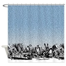 Vintage Alice Border Blue Shower Curtain