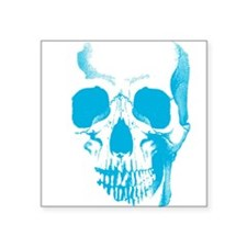 "Blue Skull Face Square Sticker 3"" x 3"""