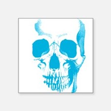"""Blue Skull Face Square Sticker 3"""" x 3"""""""